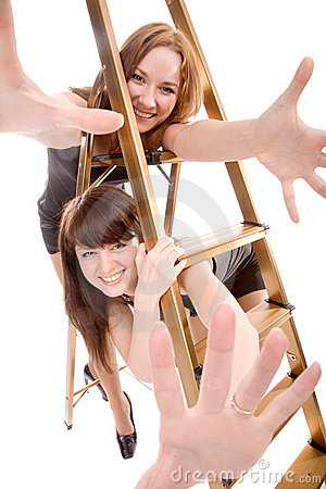 Girls with stepladder