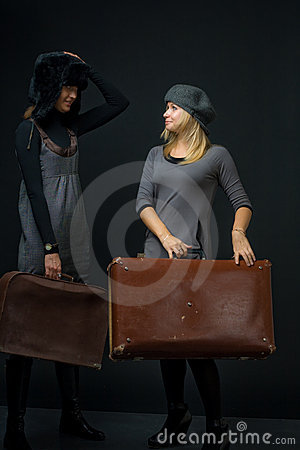Girls with suitcase