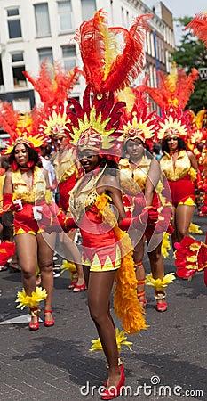 Girls in summer carnival parade 2012 Editorial Stock Image