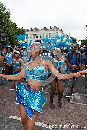 Girls in summer carnival parade 2012 Editorial Image