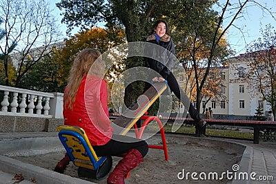 Girls on a swing