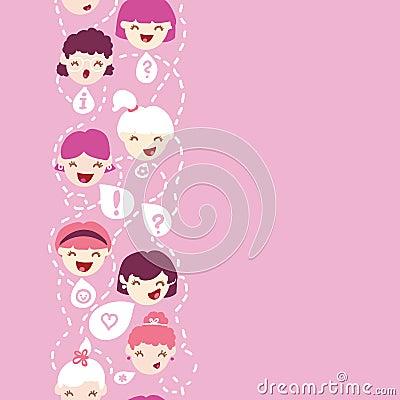 Girls talking vertical seamless pattern background