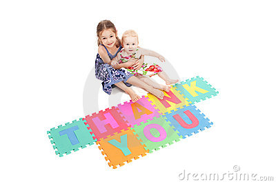 Girls with thank you sign