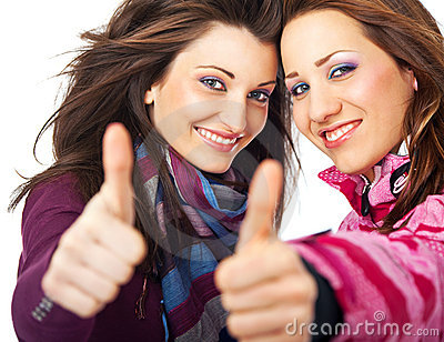 Girls thumbs up