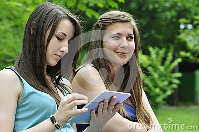 Girls with touchpad