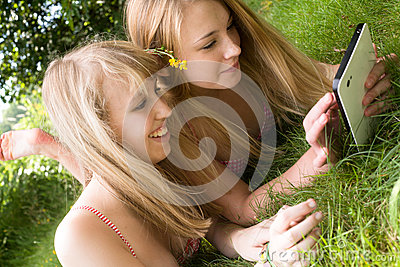 Girls and a touchpad
