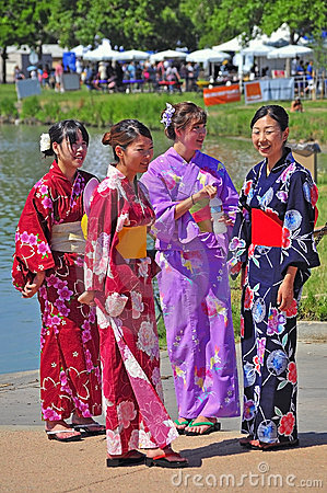 Girls in traditional japanese costumes Editorial Stock Image