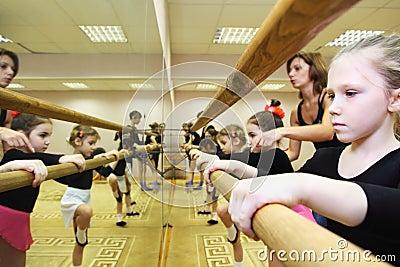 Girls trains near ballet bar Editorial Stock Photo
