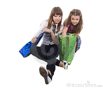 Girls With Two Shoping Bags.