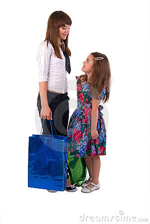Girls With Two Shopping Bags.