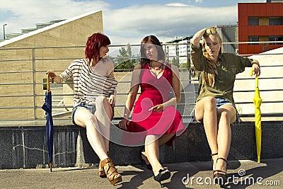 Girls in urban area