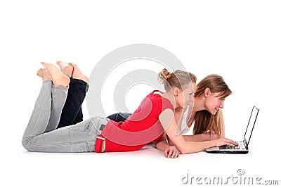 Girls using laptop