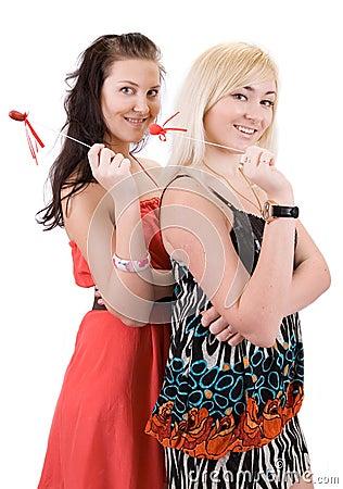 Girls with Valentine's Day symbolson white