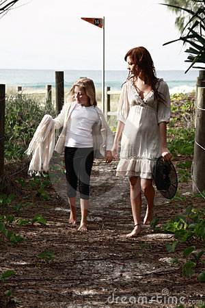 Girls walking near beach