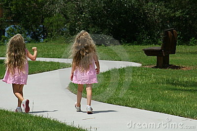 Girls walking in the park