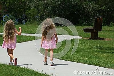 Girls walking in the park
