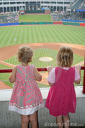 Girls Watching Baseball Game
