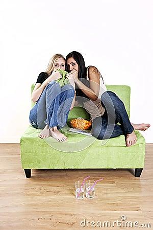 Girls watching scary movie