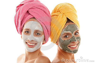 Girls wearing facial masks