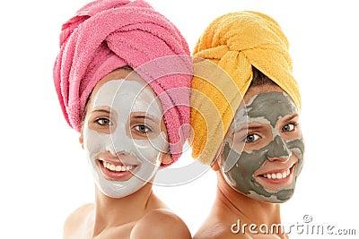 Girls wearing facial masks