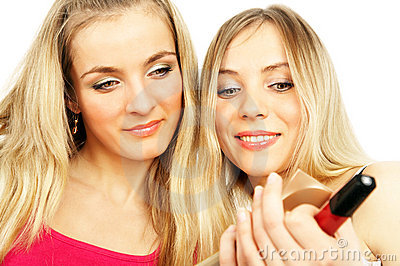 Girls on a white background. Make-up.
