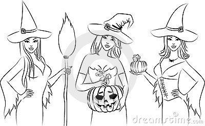 Girls witch in Halloween style.