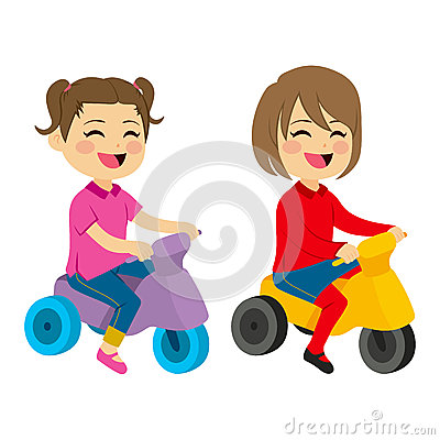 Free Girls With Tricycle Stock Image - 63751961