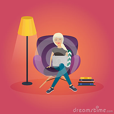 Happy People Freelance Working From Home Design Stock Illustration Image 65770809