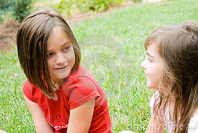 Girls in Yard Talking