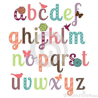Free Girly Alphabet Vector Set Stock Photography - 42538382