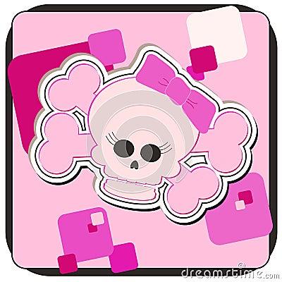 Girly Schädel u. gekreuzte Knochen