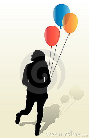 Girly Silhouette And Ballons Stock Photos - Image: 18235773