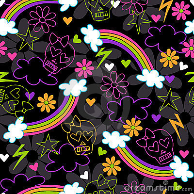 Girly Skulls Rainbow Seamless Repeat Pattern