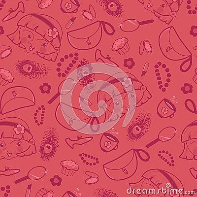 Girly things seamless pattern background
