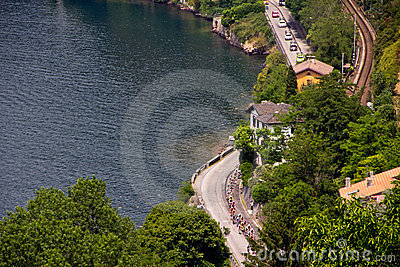 Giro d Italia 2011 on lake Como (26/05/2011) Editorial Stock Image