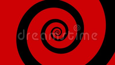 Giro espiral dos desenhos animados vermelhos e pretos em um laço