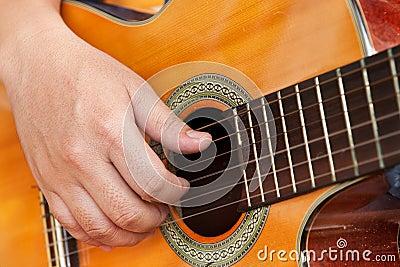 Gitarre und Hand