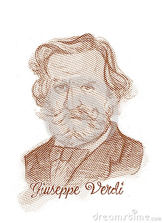 Giuseppe Fortunino Francesco Verdi Engraving Style Sketch Portrait Editorial Image