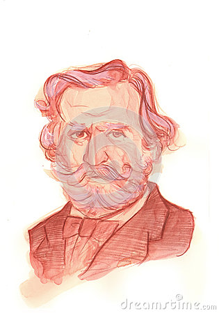 Giuseppe Fortunino Francesco Verdi Watercolour Sketch Portrait Editorial Image