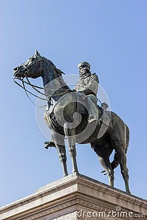 Giuseppe Garibaldi statue in Genoa square, Italy