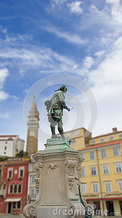 Giuseppe Tartini statue in Tartini Square, Piran