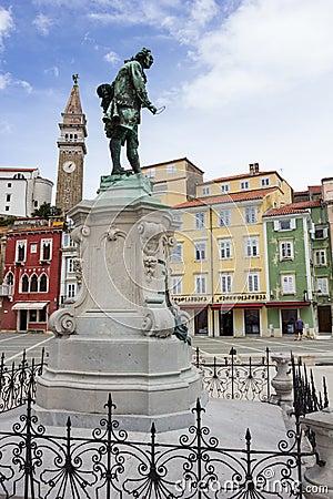 Giuseppe Tartini statue in Tartini Square, Piran