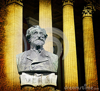 Giuseppe Verdi and Theater Massimo in Palermo, Sicily, Italy.