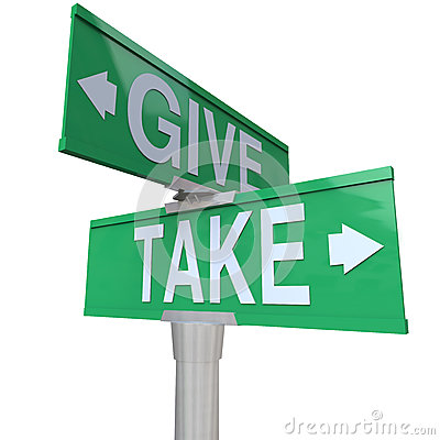 Give and Take Double Road Signs Greedy or Charitable
