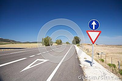 Give way lane at road