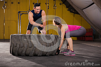 Giving Advice On Tire Flip Stock Photo