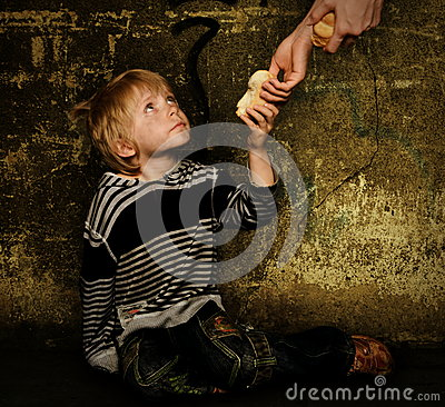 Giving Food For Homeless Child Stock Photo Image 45364462