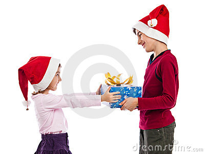 Giving and receiving Christmas present