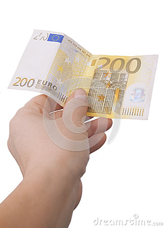 Giving a two hundred euro note