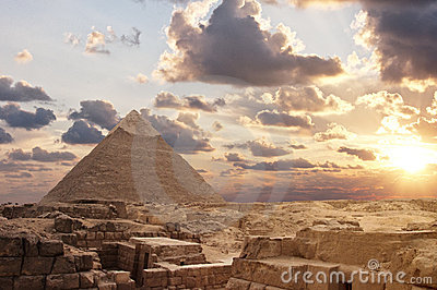 Giza Pyramids at Sunset